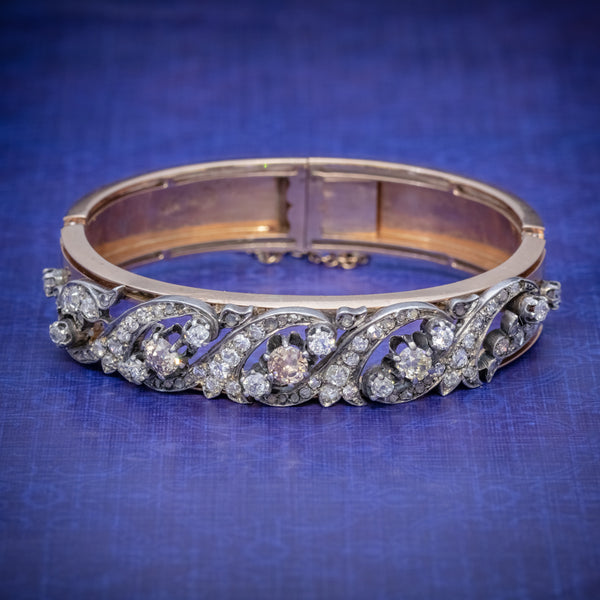 ANTIQUE VICTORIAN FRENCH DIAMOND BANGLE 18CT ROSE GOLD CIRCA 1900 COVER