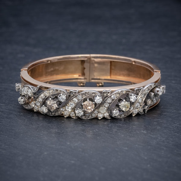 ANTIQUE VICTORIAN FRENCH DIAMOND BANGLE 18CT ROSE GOLD CIRCA 1900  FRONT