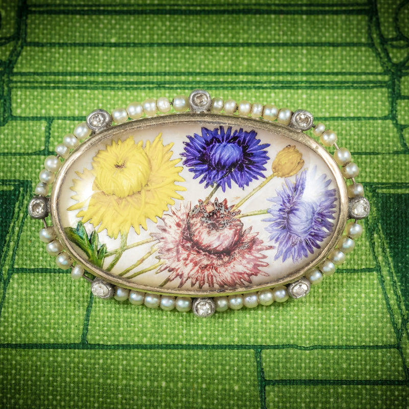Antique Victorian French Essex Crystal Flower Brooch Circa 1900 cover