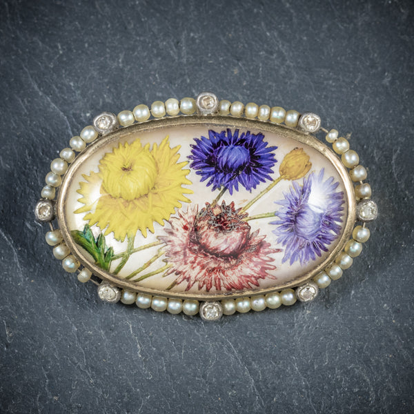 Antique Victorian French Essex Crystal Flower Brooch Circa 1900 front