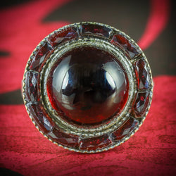 ANTIQUE VICTORIAN FRENCH GARNET RING SILVER CIRCA 1890 COVER
