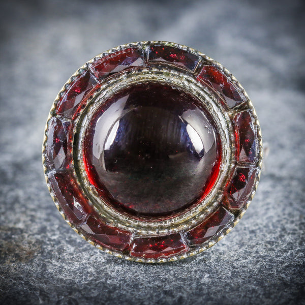 ANTIQUE VICTORIAN FRENCH GARNET RING SILVER CIRCA 1890 FRONT