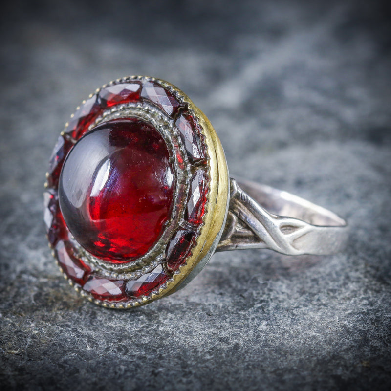 ANTIQUE VICTORIAN FRENCH GARNET RING SILVER CIRCA 1890 SIDE