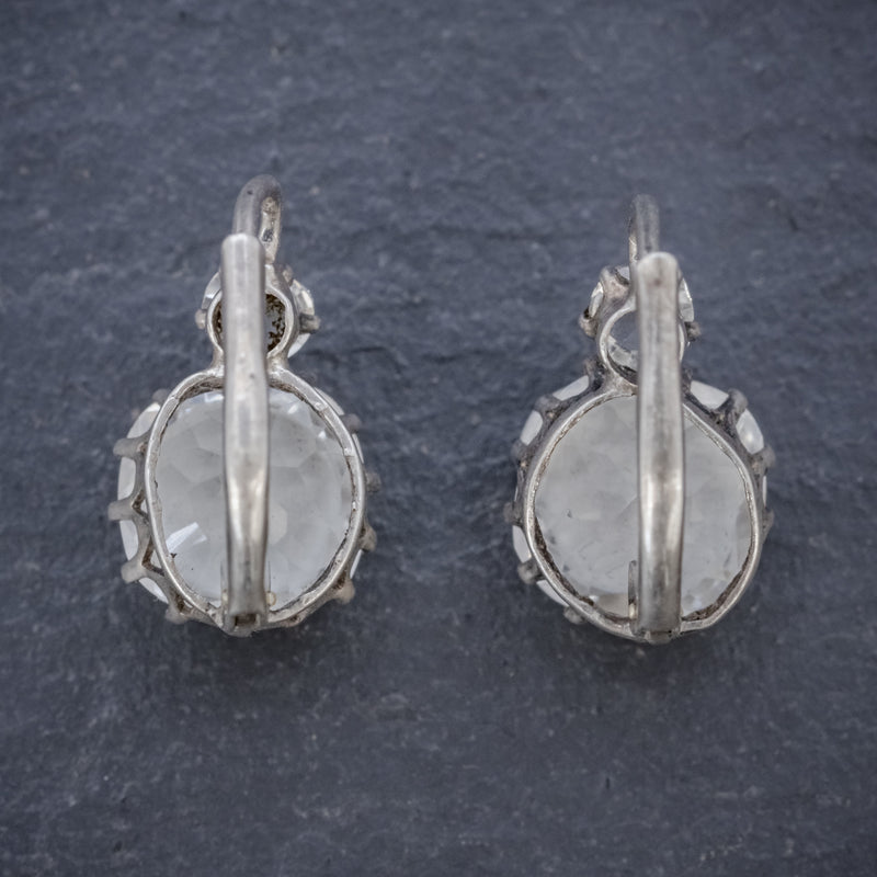 ANTIQUE VICTORIAN FRENCH PASTE EARRINGS SILVER CIRCA 1880 BACK