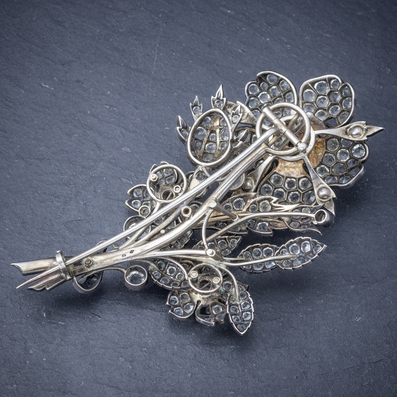 Antique Victorian French Trembler Flower Brooch Paste Stone Silver Circa 1900 back