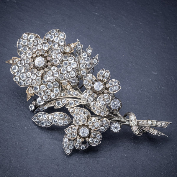 Antique Victorian French Trembler Flower Brooch Paste Stone Silver Circa 1900 front