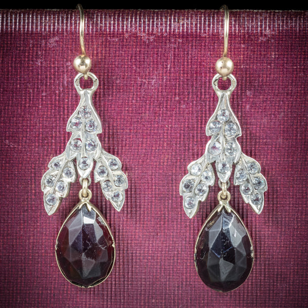 Antique Victorian Garnet Drop Earrings Gold Silver Circa 1880 COVER