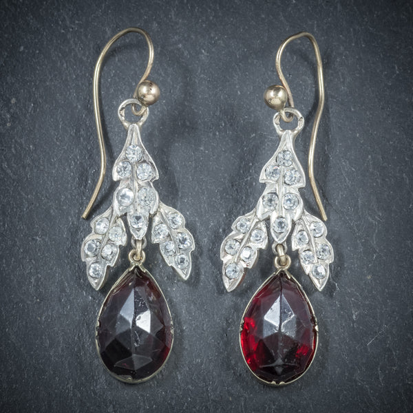 Antique Victorian Garnet Drop Earrings Gold Silver Circa 1880 FRONT
