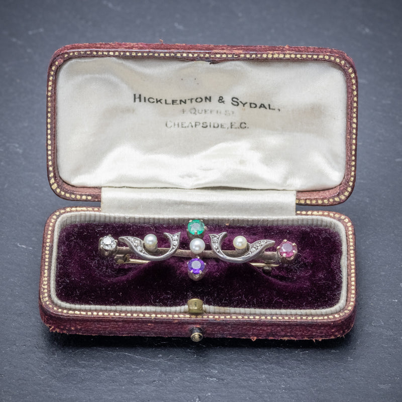 Antique Victorian Gemstone Dearest Brooch 18ct Gold Circa 1900 Boxed OPEN