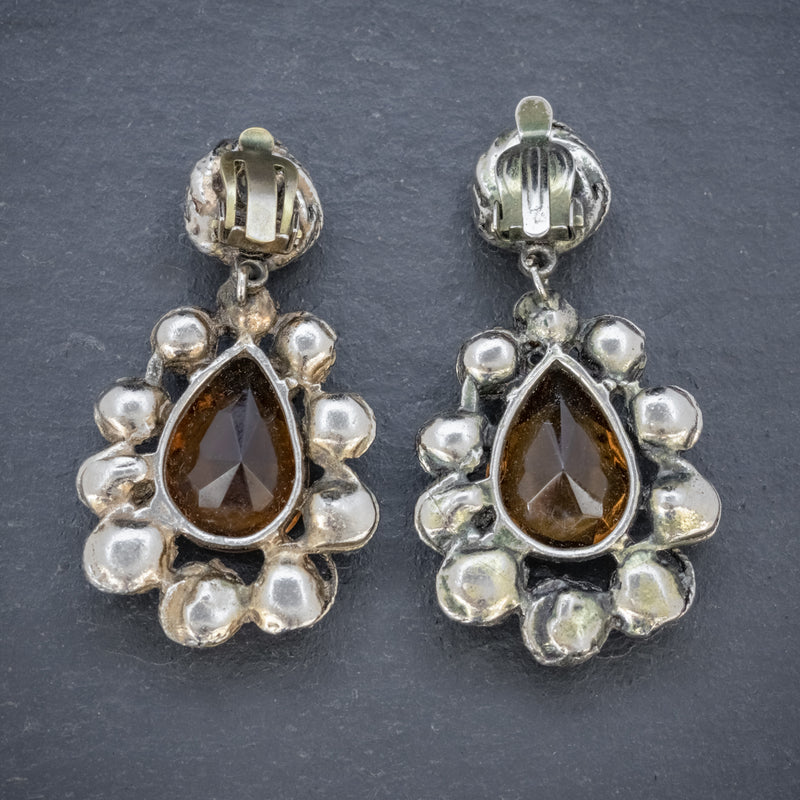 ANTIQUE VICTORIAN GOLDEN PASTE DROP EARRINGS CIRCA 1880 BACK