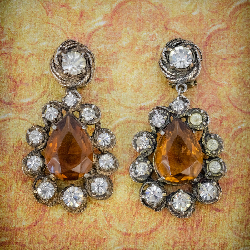 ANTIQUE VICTORIAN GOLDEN PASTE DROP EARRINGS CIRCA 1880 COVER