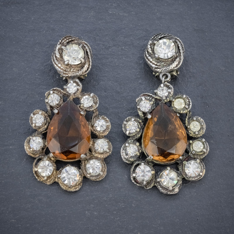ANTIQUE VICTORIAN GOLDEN PASTE DROP EARRINGS CIRCA 1880 FRONT