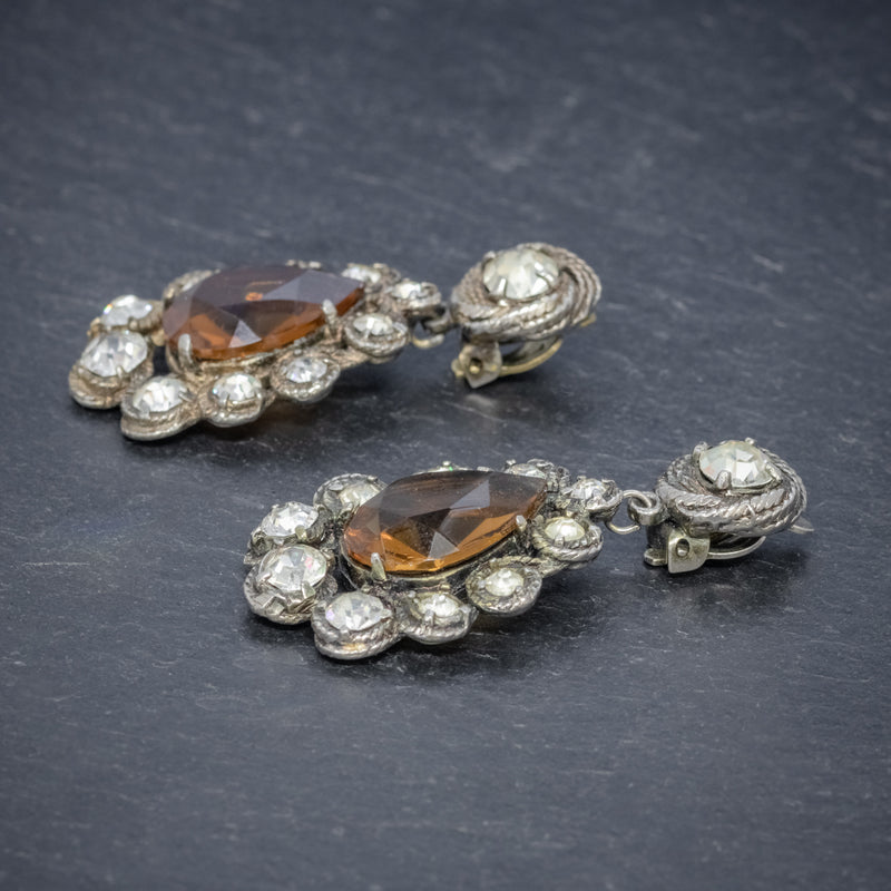 ANTIQUE VICTORIAN GOLDEN PASTE DROP EARRINGS CIRCA 1880 SIDE