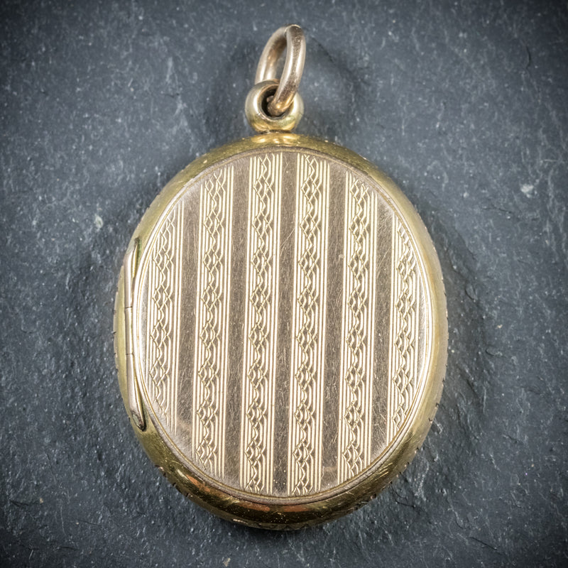 Antique Victorian Gold Family Locket Circa 1900 BACK