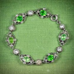 Antique Victorian Green Paste Bracelet Silver Circa 1900 cover