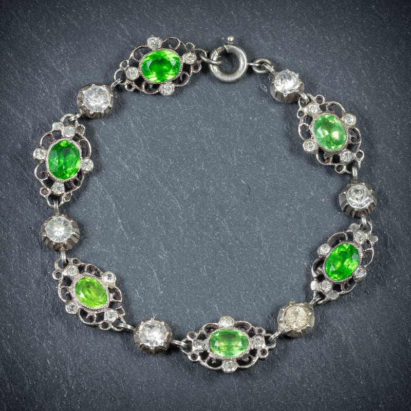 Antique Victorian Green Paste Bracelet Silver Circa 1900 front