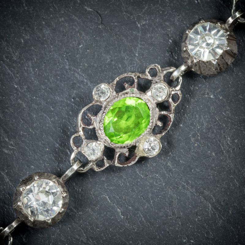 Antique Victorian Green Paste Bracelet Silver Circa 1900 peridot