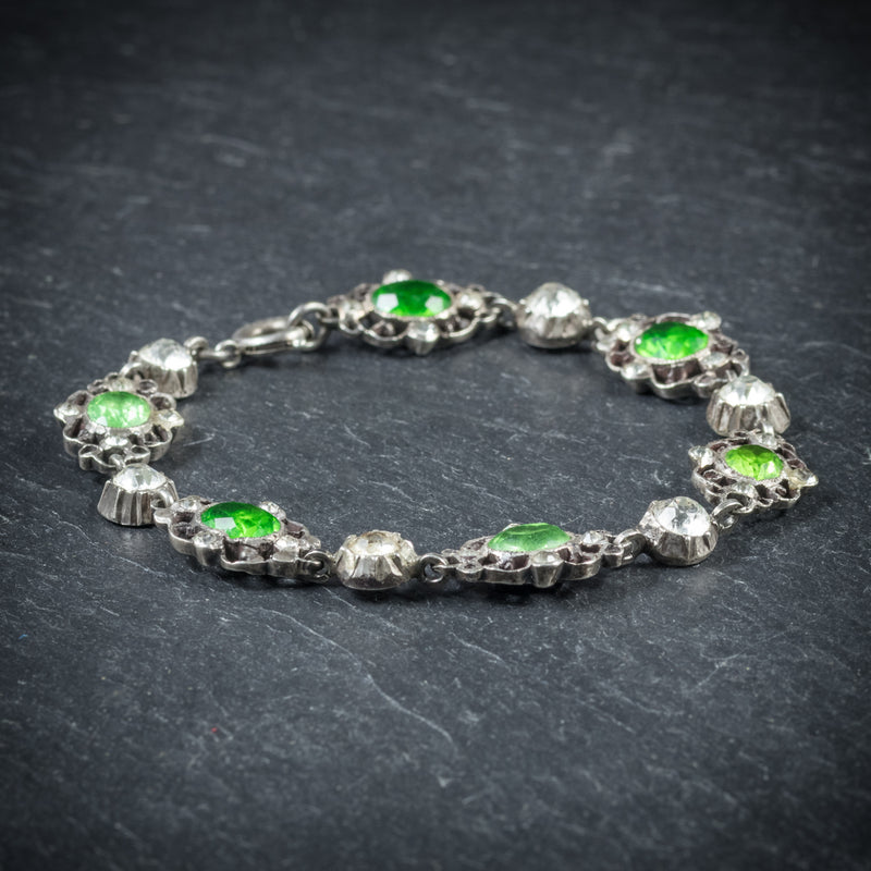 Antique Victorian Green Paste Bracelet Silver Circa 1900 side