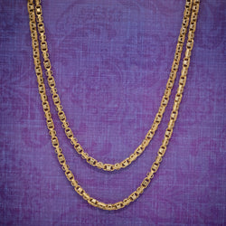ANTIQUE VICTORIAN GUARD CHAIN 15CT GOLD LINK NECKLACE CIRCA 1880 COVER