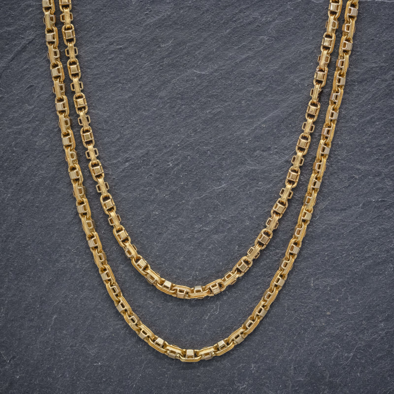 ANTIQUE VICTORIAN GUARD CHAIN 15CT GOLD LINK NECKLACE CIRCA 1880 FRONT