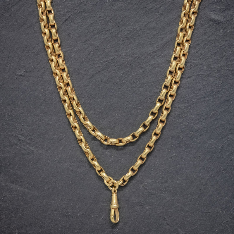 ANTIQUE VICTORIAN GUARD CHAIN 18CT GOLD ON SILVER CIRCA 1880 FRONT
