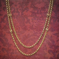 Antique Victorian Guard Chain Solid 9ct Gold Link Necklace Circa 1880 COVER