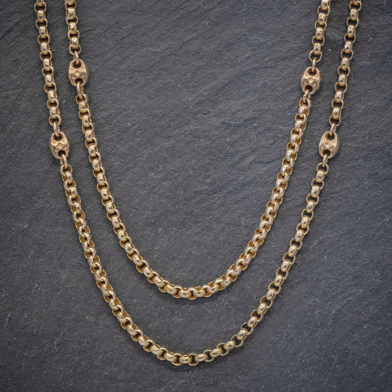 Antique Victorian Guard Chain Solid 9ct Gold Link Necklace Circa 1880 FRONT