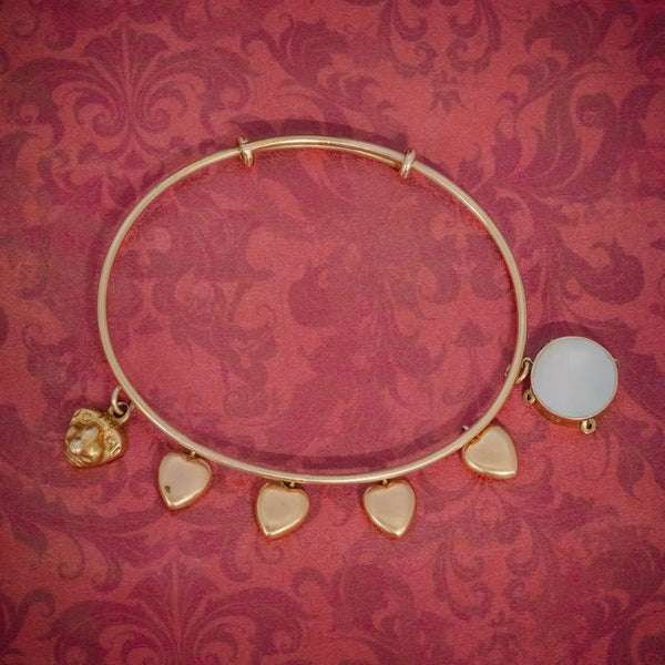 ANTIQUE VICTORIAN HEART CHARM BANGLE 15CT GOLD CIRCA 1900 COVER