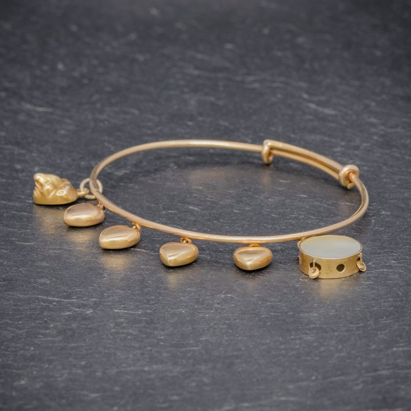 ANTIQUE VICTORIAN HEART CHARM BANGLE 15CT GOLD CIRCA 1900 SIDE