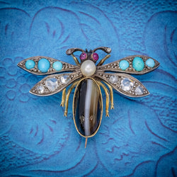 ANTIQUE VICTORIAN INSECT BROOCH DIAMOND TURQUOISE PEARL AGATE SILVER 18CT GOLD CIRCA 1880 COVER