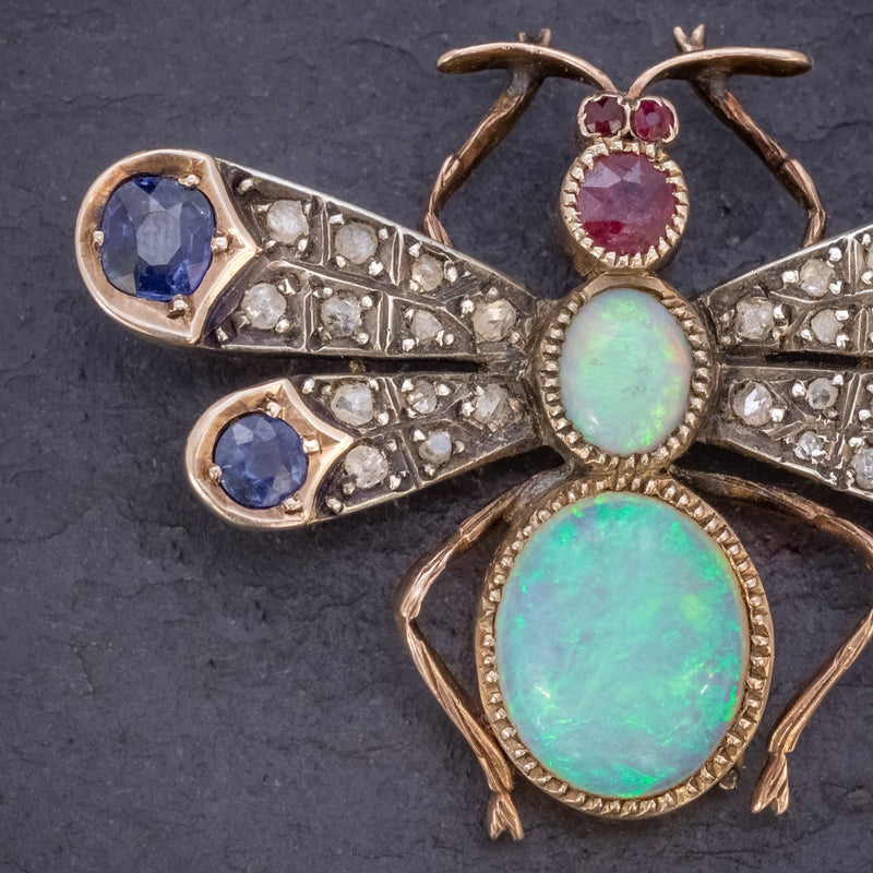 ANTIQUE VICTORIAN INSECT BROOCH OPAL DIAMOND RUBY SAPPHIRE 18CT GOLD CIRCA 1880 CLOSE