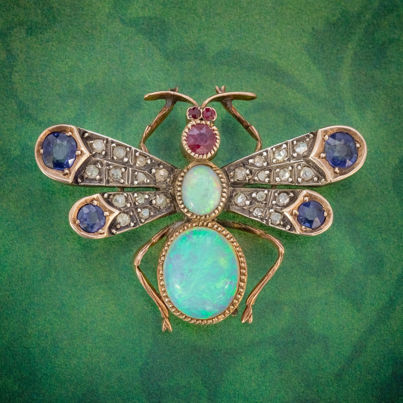 ANTIQUE VICTORIAN INSECT BROOCH OPAL DIAMOND RUBY SAPPHIRE 18CT GOLD CIRCA 1880 COVER