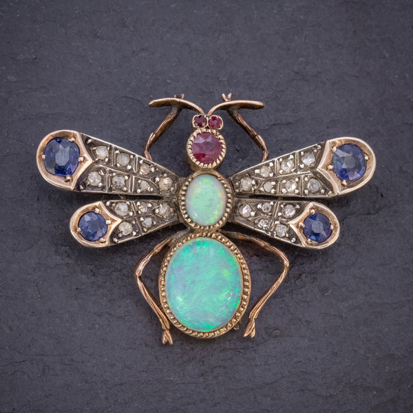 ANTIQUE VICTORIAN INSECT BROOCH OPAL DIAMOND RUBY SAPPHIRE 18CT GOLD CIRCA 1880 FRONT