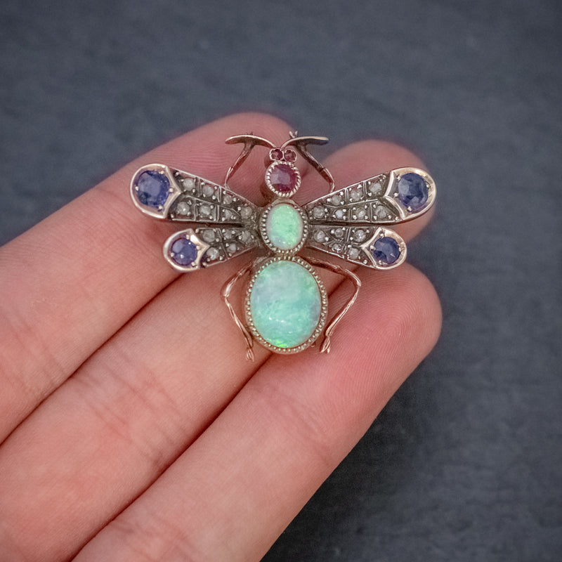 ANTIQUE VICTORIAN INSECT BROOCH OPAL DIAMOND RUBY SAPPHIRE 18CT GOLD CIRCA 1880 HAND