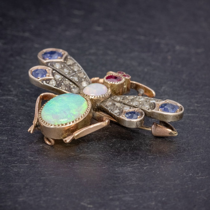 ANTIQUE VICTORIAN INSECT BROOCH OPAL DIAMOND RUBY SAPPHIRE 18CT GOLD CIRCA 1880 SIDE