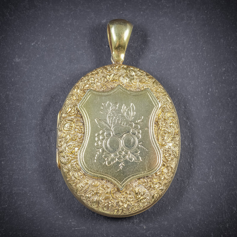 Antique Victorian Fruit Locket 18ct Gold Silver Circa 1880 FRONT