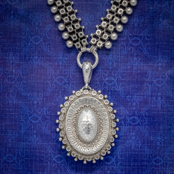 ANTIQUE VICTORIAN LOCKET COLLAR SILVER NECKLACE CIRCA 1880 COVER