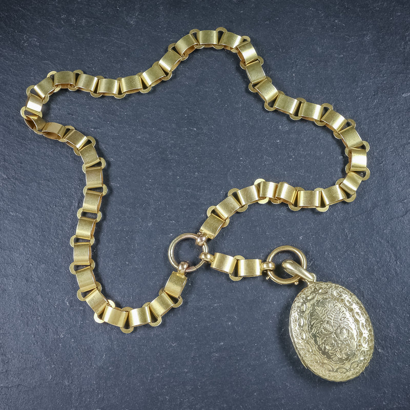 Antique Victorian Locket Collar Solid 15ct Gold Necklace Circa 1900 TOP