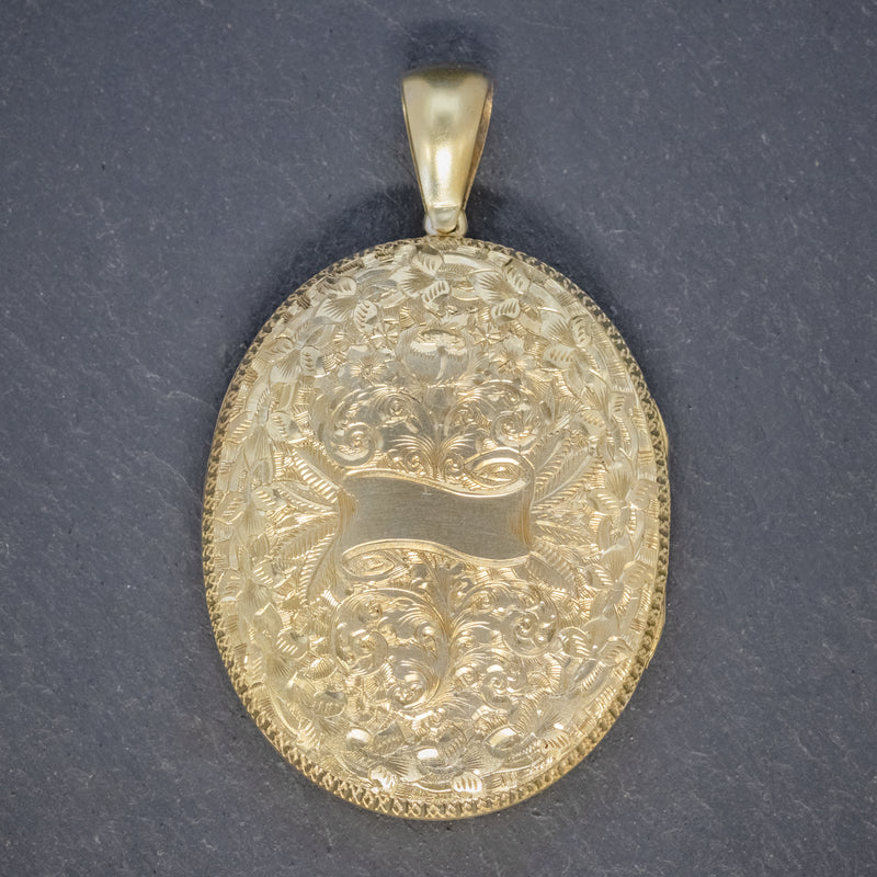 ANTIQUE VICTORIAN LOCKET SILVER GOLD GILT FORGET ME NOT CIRCA 1880 back
