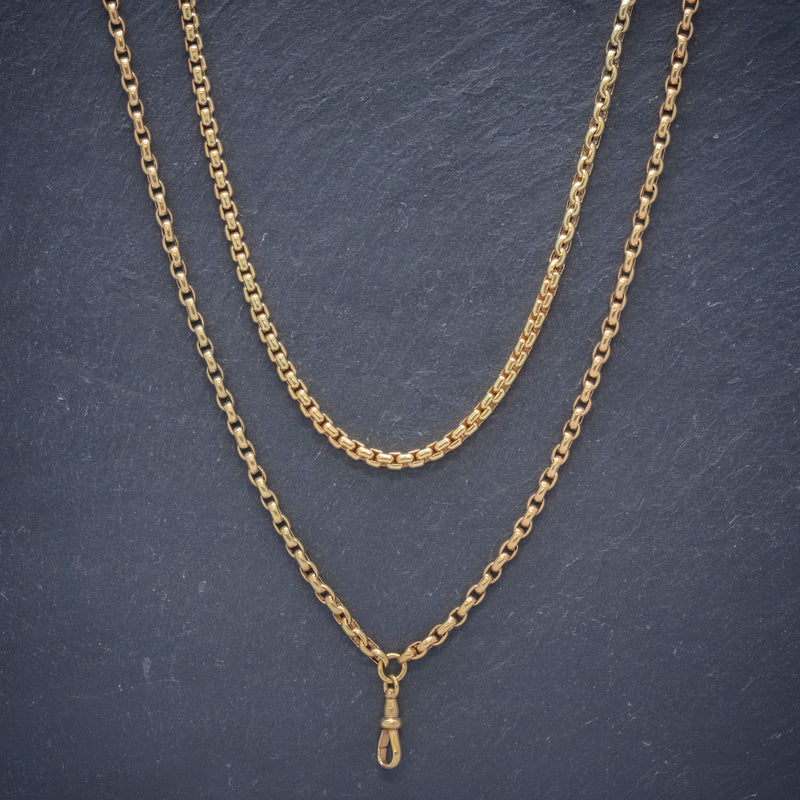 Antique Victorian Long Blecher Chain 18ct Gold On Silver Circa 1900 FRONT