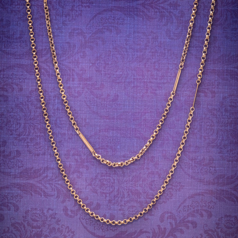Antique Victorian Long Guard Chain 18ct Gold Cased Silver Circa 1900 COVER