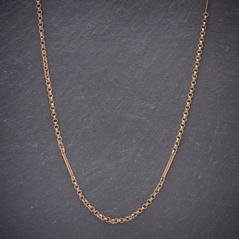 Antique Victorian Long Guard Chain 18ct Gold Cased Silver Circa 1900 FRONT
