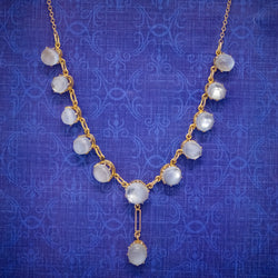 Antique Victorian Moonstone Necklace 9ct Gold Circa 1900 COVER