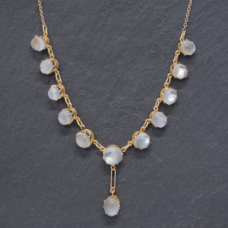 Antique Victorian Moonstone Necklace 9ct Gold Circa 1900 FRONT