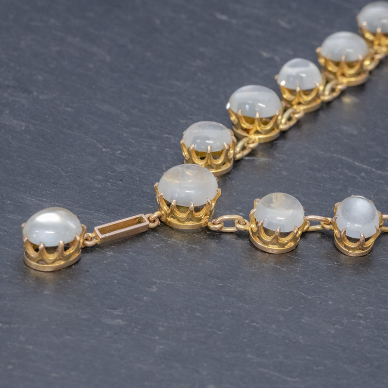 Antique Victorian Moonstone Necklace 9ct Gold Circa 1900 SIDE