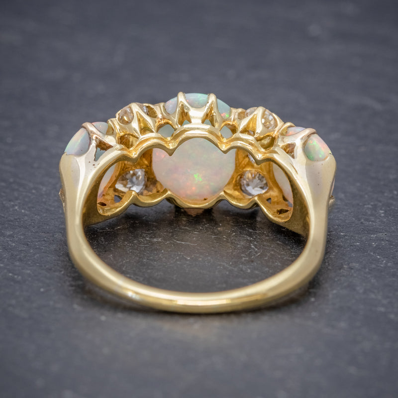 ANTIQUE VICTORIAN NATURAL 5CT OPAL TRILOGY RING 18CT GOLD CIRCA 1880 BACK