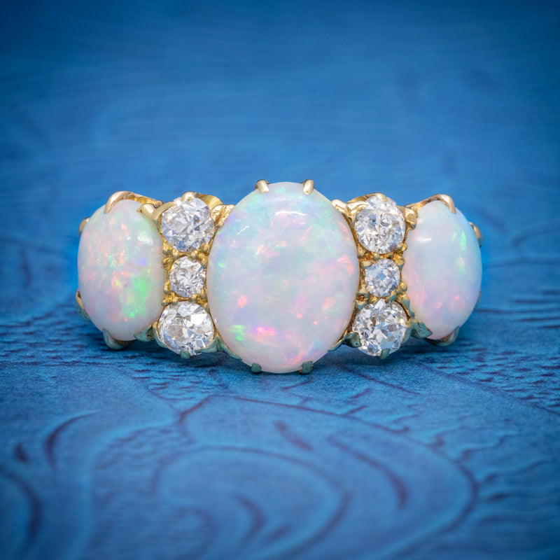 ANTIQUE VICTORIAN NATURAL 5CT OPAL TRILOGY RING 18CT GOLD CIRCA 1880 COVER