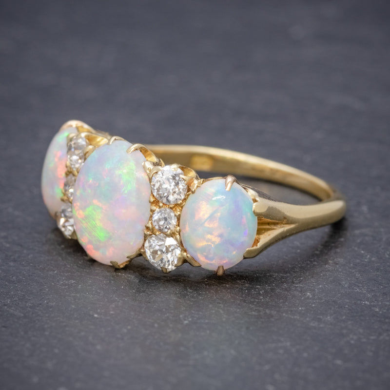 ANTIQUE VICTORIAN NATURAL 5CT OPAL TRILOGY RING 18CT GOLD CIRCA 1880 SIDE