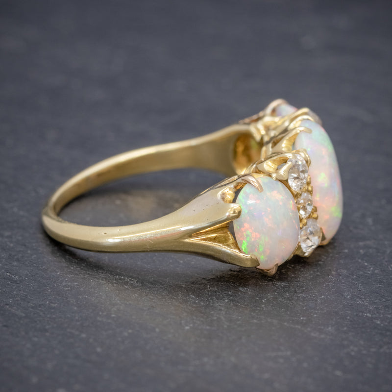 ANTIQUE VICTORIAN NATURAL 5CT OPAL TRILOGY RING 18CT GOLD CIRCA 1880 SIDE2