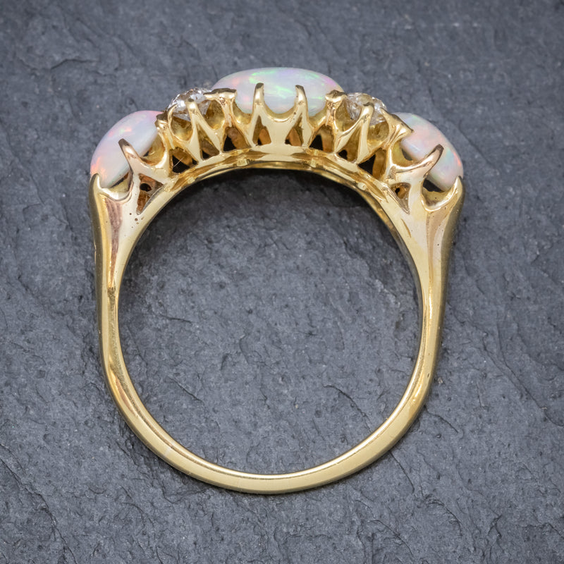 ANTIQUE VICTORIAN NATURAL 5CT OPAL TRILOGY RING 18CT GOLD CIRCA 1880 TOP